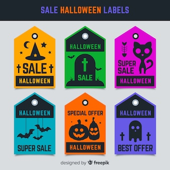 Collection of halloween sale badges