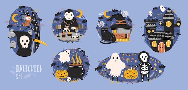 저승사자, 뱀파이어, 유령, 잭오랜턴, 호박 랜턴, 올빼미, 검은 고양이 등 귀엽고 재미있는 요정 만화 캐릭터가 있는 할로윈 장면 모음. 플랫 다채로운 벡터 일러스트 레이 션.