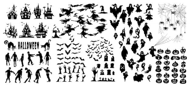 ハロウィーンシルエットアイコンとキャラクター、ハロウィーンの装飾の要素のコレクション
