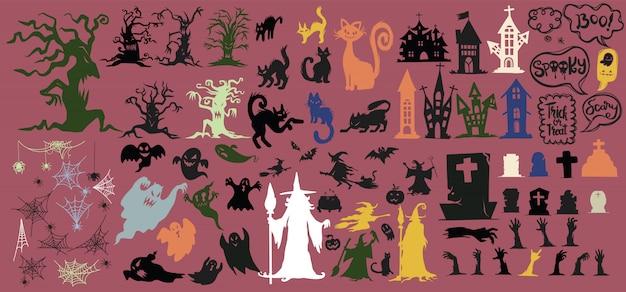 ハロウィーンシルエットアイコンとキャラクターのコレクション。
