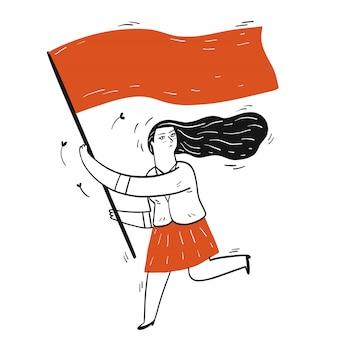 手のコレクションには、フラグを押しながら走っている少女が描かれています。スケッチ落書きスタイルのベクトルイラスト。