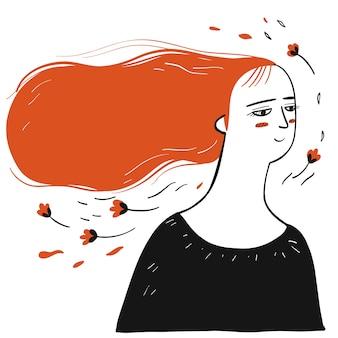 手のコレクションには、やたらと長い髪の女性が描かれています。スケッチ落書きスタイルのベクトルイラスト。
