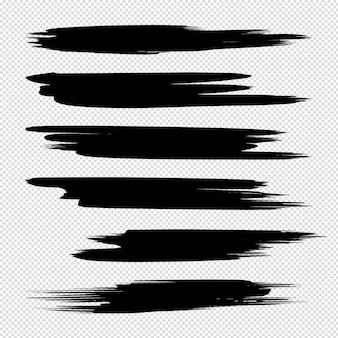 分離された形状フレームのセットで手描きの抽象的な黒のペイントブラシストロークのコレクション