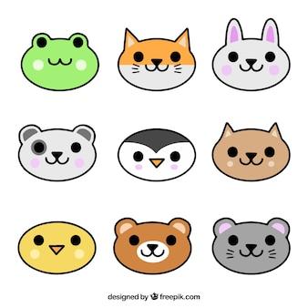 손으로 그린 동물 얼굴의 컬렉션