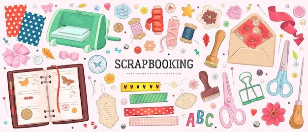 スクラップブッキング用の手描き画材のコレクション
