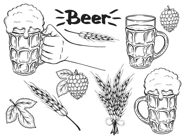 손으로 그린 맥주 액세서리의 컬렉션입니다. 단색화. 흰색으로 격리.