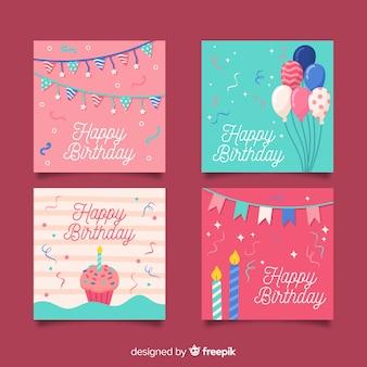 손으로 그린 생일 카드 컬렉션