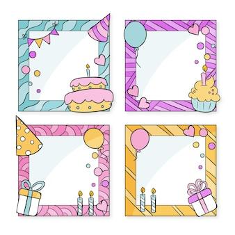 Коллекция рисованной рамки коллажа дня рождения