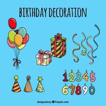 손으로 그린 생일 장식의 컬렉션