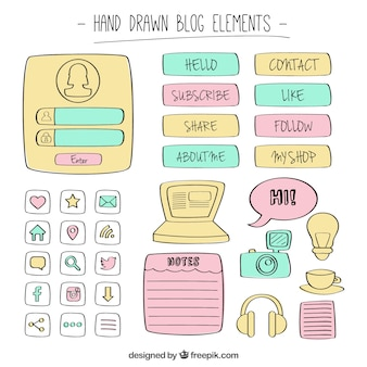 Collection of hand drawn blog element