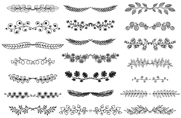 スケッチスタイルの手描きの境界線のコレクション。あなたのデザインのための花と抽象的な仕切り。