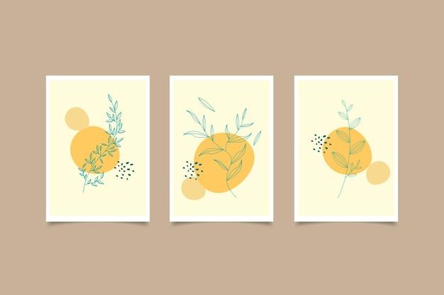 手描きの植物画の壁掛けのコレクション