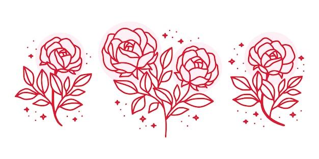여성 뷰티 로고 손으로 그린 식물 핑크 장미 꽃 요소의 컬렉션