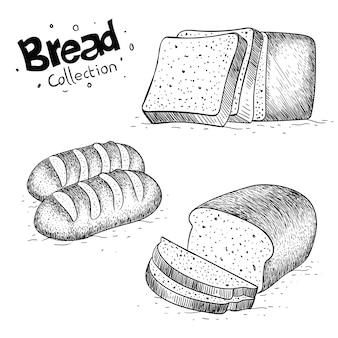 손으로 그린 빵 그림의 컬렉션