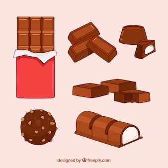 Коллекция рисованных шоколадных батончиков