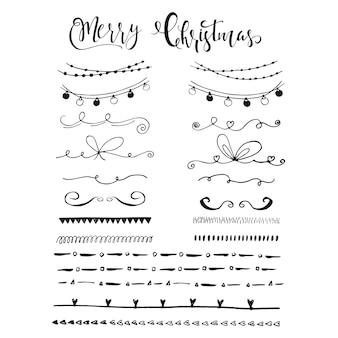 Коллекция рисованной рождественских границ с буквами. симпатичные и уникальные чернильные завитки и разделители для вашего дизайна. вектор.
