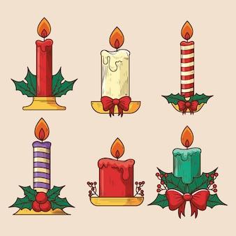손으로 그린 크리스마스 촛불의 컬렉션