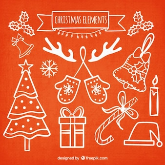 Collection of hand drawn christmas elements