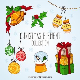クリスマスの要素描かれた手のコレクション