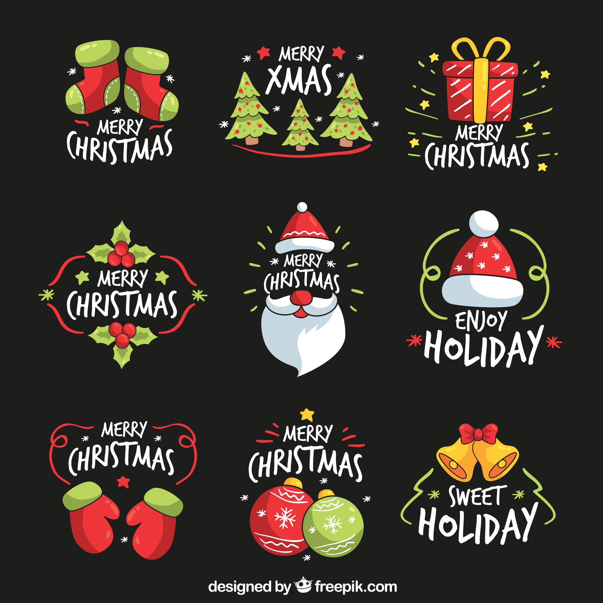Collection of hand drawn christmas stickers
