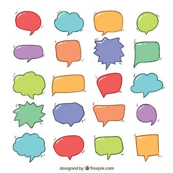 Коллекция рисованных цветных диалоговых шаров