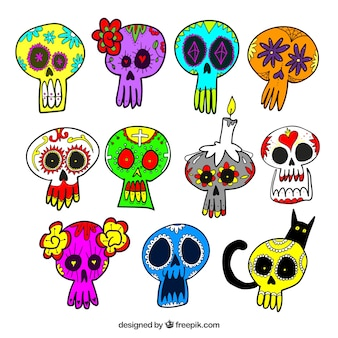 Collection of hand drawn colorful mexican skulls