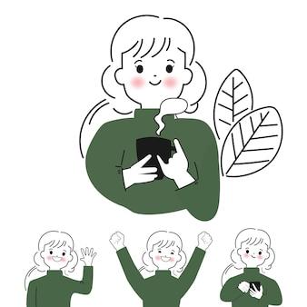 낙서 스타일의 손으로 그린 귀여운 여자 캐릭터 세트 벡터 일러스트 컬렉션