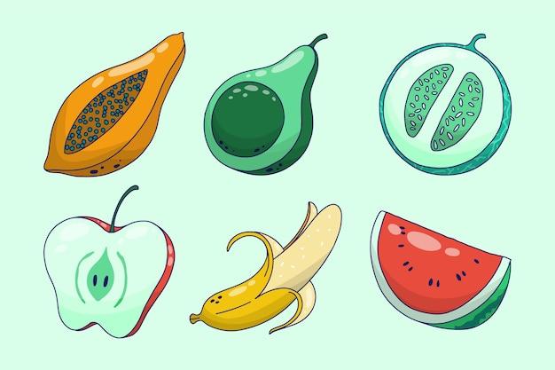 손으로 그린 맛있는 과일 컬렉션