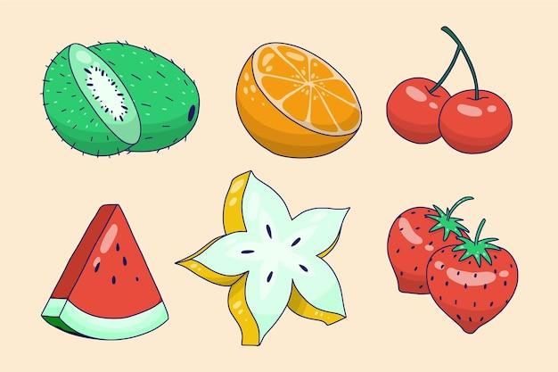 手描きのおいしい果物のコレクション