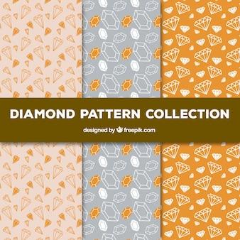 手描きのダイヤモンドパターンのコレクション