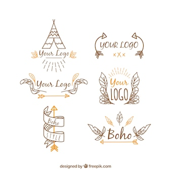 Collection of hand-drawn ethnic logos with orange elements