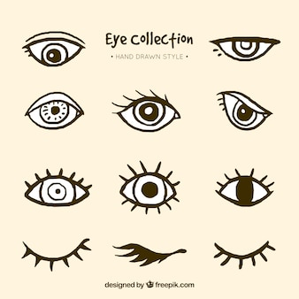 Collection of hand drawn eyes