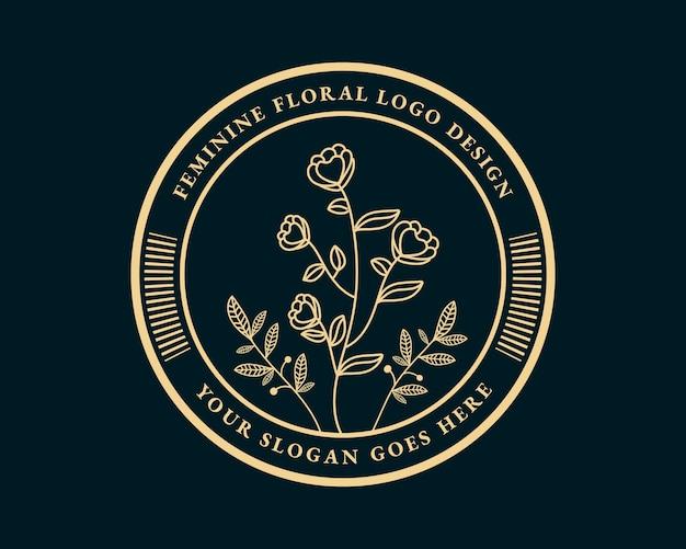 手描きの女性の美しさと花の植物の最小限のロゴのコレクション