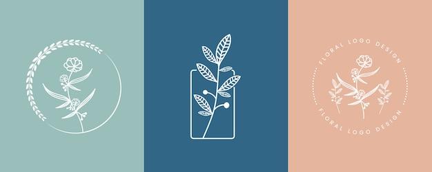 손으로 그린 여성의 아름다움과 꽃 식물 최소한의 로고 컬렉션