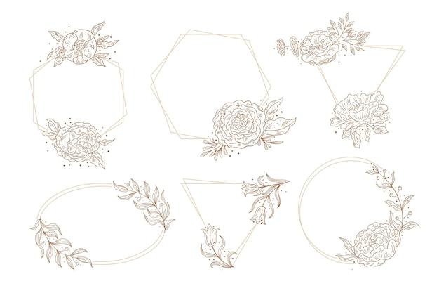 手描きの花のフレームのコレクション