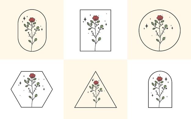 프레임에 손으로 그린 꽃의 수집