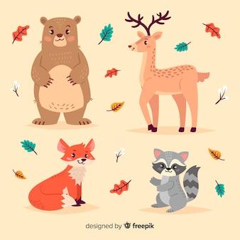 손으로 그린 숲 동물의 컬렉션