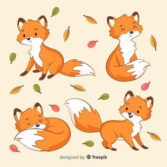 Коллекция рисованной лисы