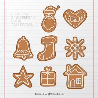 Collection of hand-drawn gingerbread cookies