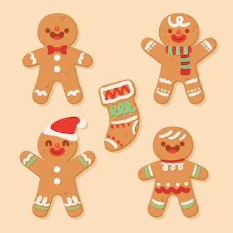 손으로 그린 진저 브레드 남자 쿠키의 컬렉션
