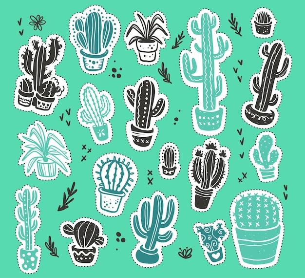 Коллекция рисованной зеленый кактус эскиз наклейки коллекции, изолированные на зеленом текстурированном фоне. плоский набор иконок кактус. иллюстрация элементов природы.