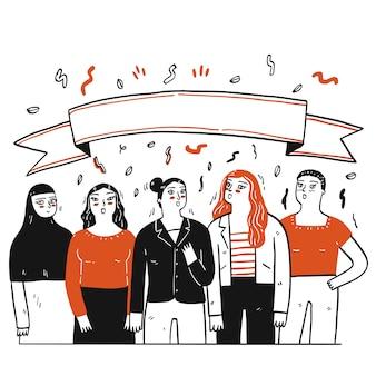 그들 위에 빈 태그를 가진 사람들의 손으로 그린 그룹의 컬렉션입니다. 스케치 낙서 스타일의 벡터 일러스트입니다.