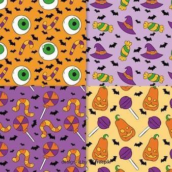 손으로 그린 할로윈 패턴의 컬렉션