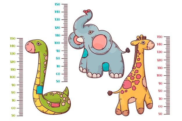 図解された子供のための手描きの身長計のコレクション