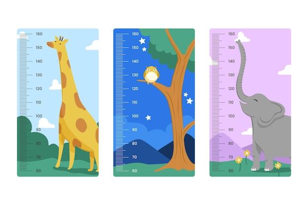 Коллекция рисованной высотомера для детей, иллюстрированная