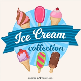 Collection of hand drawn ice-cream