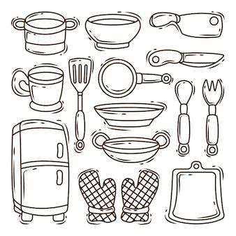 Коллекция рисованной кухонного оборудования мультяшный каракули окраски стиля