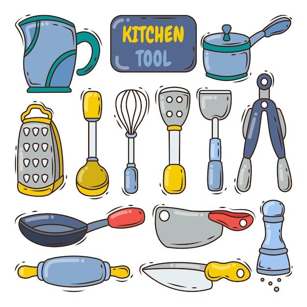 Коллекция рисованной кухонного инструмента в мультяшном стиле каракули