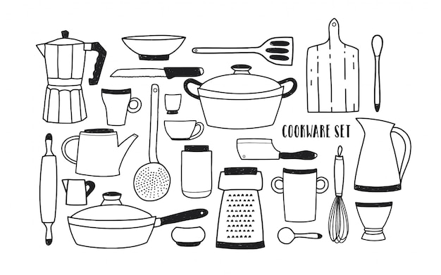 手のコレクションには、調理器具や調理用具が描かれています。漫画白黒調理器具のセットです。トレンディな落書きスタイルのイラスト。