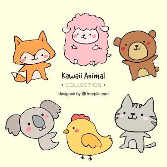 손으로 그린 사랑스러운 동물의 컬렉션